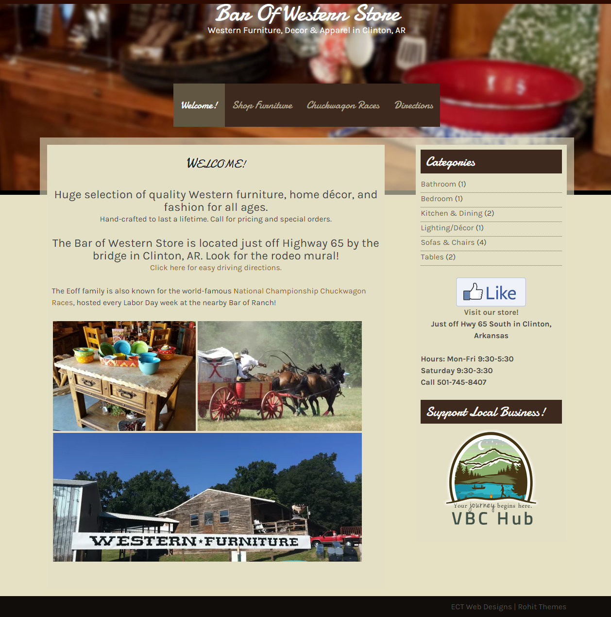 Bar of Western Store in Clinton, AR - Jessica Crabtree ECT Web Designs