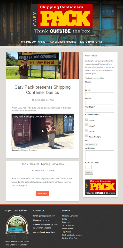 Shipping Containers, Lumber & Hardware | www.garypack.com