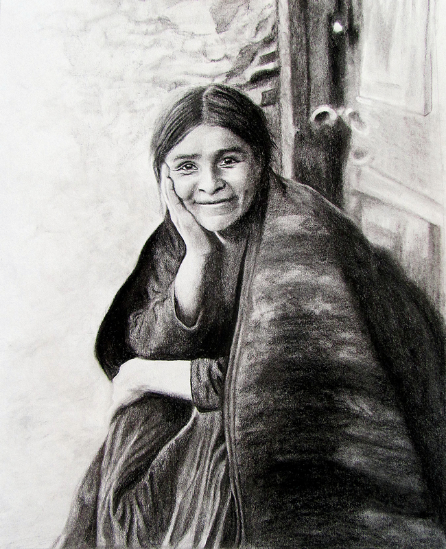 Navajo Woman Smiling (8x10 Charcoal) Private Collection.