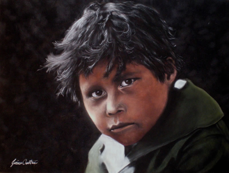 Comanche Boy (1x16 Original Pastel on Suede Painting, Framed) by Jessica Crabtree