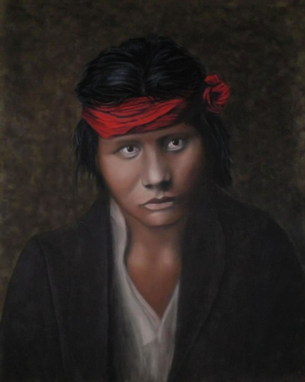"""""""Young Navajo"""" Pastel on Suede 16x20"""