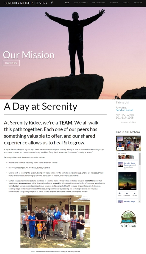 Serenity Ridge Recovery website - Jessica Crabtree ECT Web Designs