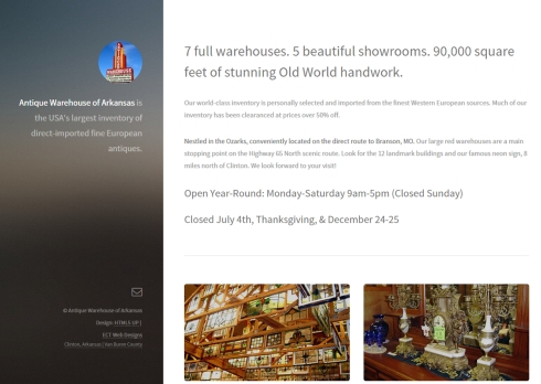Antique Warehouse website ECT