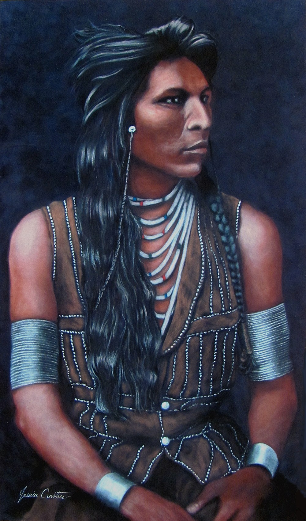 Shoshone (14x24 Original Pastel on Suede Painting, Framed) by Jessica Crabtree